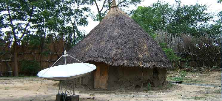 Tukul with Satellite Dish - Jonglei, South Sudan